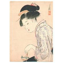 Ogata Gekko: Girl and Small Flower (Kuchi-e) - Artelino