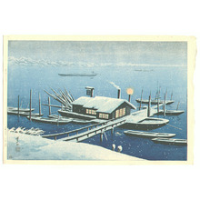Henmi Takashi: Ferry in Snow at Akabane - Artelino