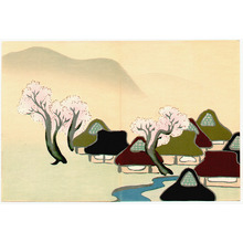 Kamisaka Sekka: Village with Cherry Blossoms - Momoyo Gusa - Artelino
