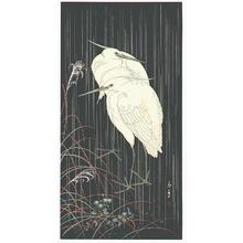 今尾景年: Two Egrets in Rainy Night - Artelino