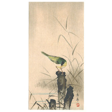 Imao Keinen: Bird on a Tree Stump - Artelino