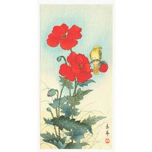 今尾景年: Yellow Bird on Red Flowers - Artelino