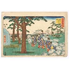 歌川広重: Looking at Cherry Blossoms - Edo Meisho - Artelino