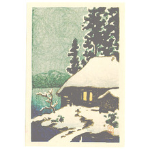 川瀬巴水: Snow Covered Cottage (postcard size - Muller Collection) - Artelino