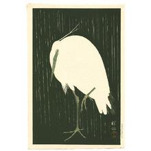 小原古邨: Egret on Rainy Night (Pre-WWII printing) - Artelino