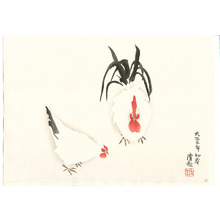 小林清親: Hen and Rooster (Muller Collection) - Artelino