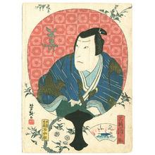 Utagawa Yoshitaki: Kabuki Portrait in Round Fan - 1 - Artelino