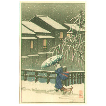 Kawase Hasui: Walk in the Snow (postcard size - Muller Collection) - Artelino