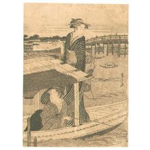 Hosoda Eishi: Two Beauties on a Boat - Artelino