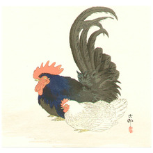 小原古邨: Rooster and Hen - Artelino
