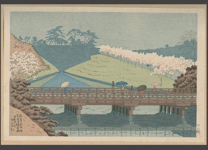 浅野竹二: Spring rain at Benkei Bridge - The Art of Japan