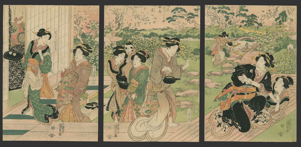歌川国貞: Bijin play and drink in the garden of a teahouse - The Art of Japan