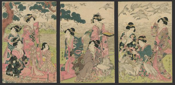 Torii Kiyomine: Bijin tying paper wish slips to the cranes - The Art of Japan
