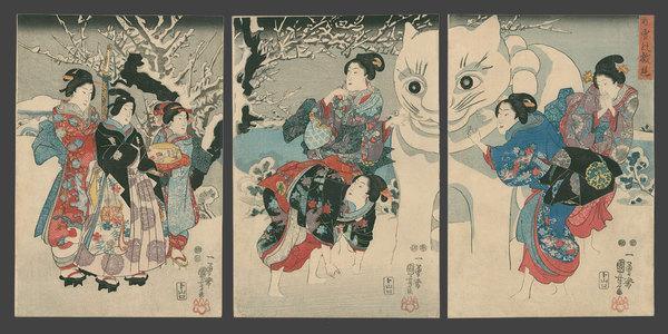 Utagawa Kuniyoshi, Giant snow cat, 1847-50.
