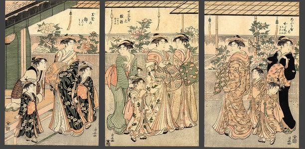 Torii Kiyonaga: Women of the Yoshiwara and flowering peonies - The Art of Japan