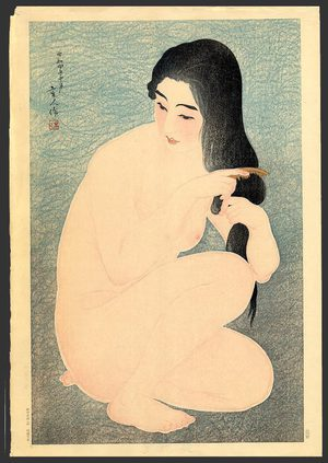鳥居言人: Combing her hair - The Art of Japan