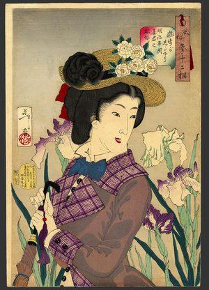 月岡芳年: Looking as if she is enjoying a stroll: a lady of the Meiji era - The Art of Japan