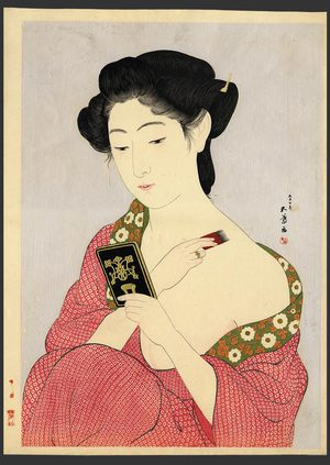 Hashiguchi Goyo: Woman applying makeup (Powdering) - The Art of Japan