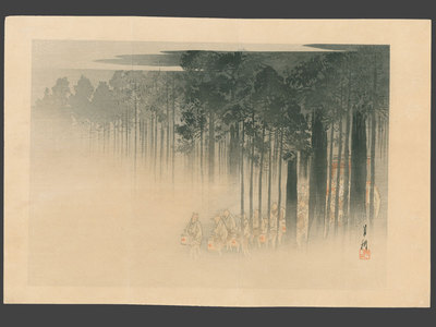 Ogata Gekko: Foxes with Lanterns Leave a Forest Shrine on a Foggy Night - The Art of Japan