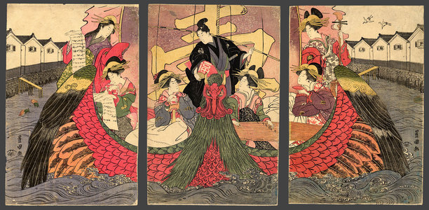 Utagawa Toyokuni I: A mitate of the Takarabune with courtesans representing the 7 Lucky Gods in the port of Nagasaki - The Art of Japan