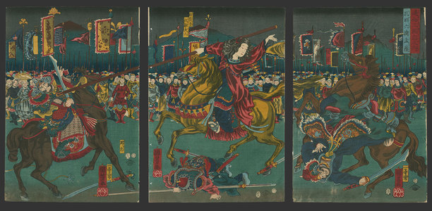 Utagawa Kuniyoshi: Shukuyu, wife of Mokaku, overthrowing Choki and Machui - The Art of Japan