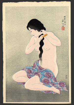 Natori Shunsen: Combing her hair - The Art of Japan