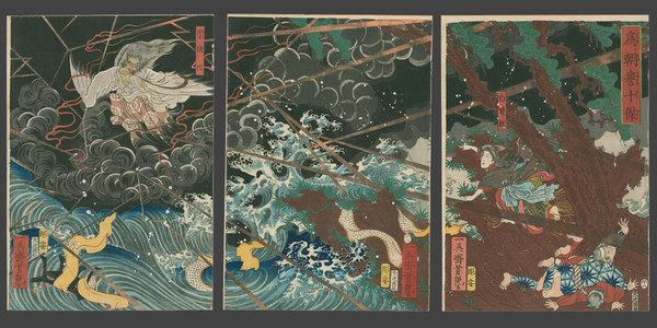 Utagawa Yoshitsuya: Princess Shirinui Fights off the Evil Sotoku-in - The Art of Japan
