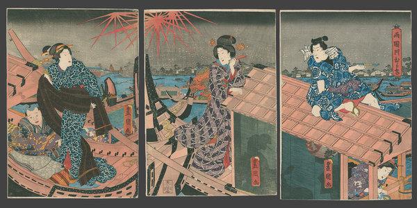 歌川国貞: Enjoying the Evening Cool and Fireworks at Ryogoku Bridge - The Art of Japan