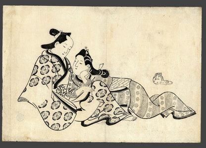 菱川師房: Lovers (abuna-e) - The Art of Japan