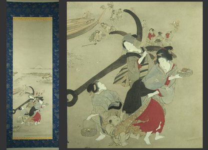 蹄斎北馬: Bijin on a beach with a great anchor - The Art of Japan