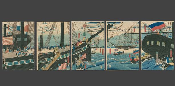 Utagawa Sadahide: Picture of Western Traders at Yokohama Transporting Merchandise - The Art of Japan