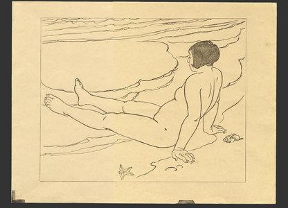 Ishikawa Toraji: Nude on a beach (keyblock for an unpublished print) - The Art of Japan