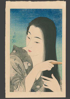 鳥居言人: Combing Her Hair 7/100 - The Art of Japan