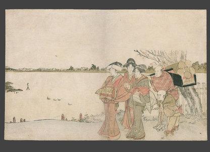 葛飾北斎: Long surimono - Oiran on a pilgrimage on the banks of the Sumidagawa - The Art of Japan