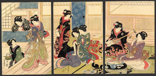 Utagawa Toyokuni I: Male (boy) prostitutes & ladies in waiting in a Green house (brothel) - The Art of Japan