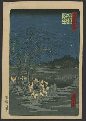Utagawa Hiroshige: Foxfires on New Years Eve at the Shozoku Hackberry tree - The Art of Japan