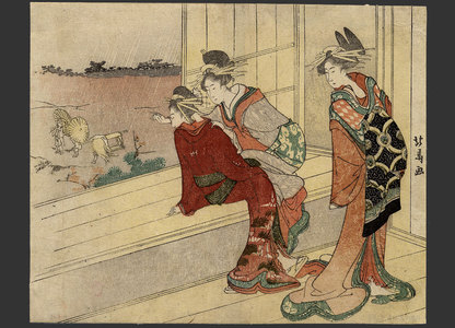 蹄斎北馬: Courtesans looking over a landscape - The Art of Japan