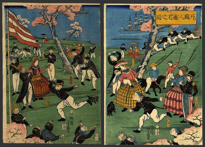 Yoshifuji: Foreigners at play on an in a park - The Art of Japan