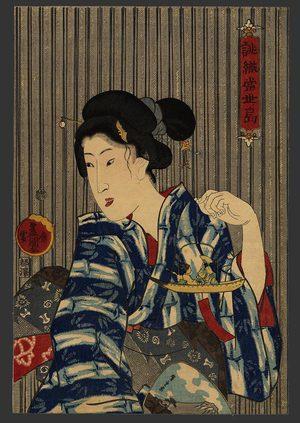 Utagawa Kunisada: A woman with a wind ornament (Toy skiff) - The Art of Japan