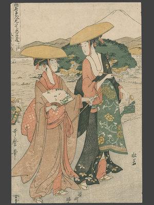 喜多川歌麿: Act 8 - Parody of the Journey of Kakogawa Honzo's Wife, Tonage and Daughter Konami to Yamashima in Kyoto. - The Art of Japan