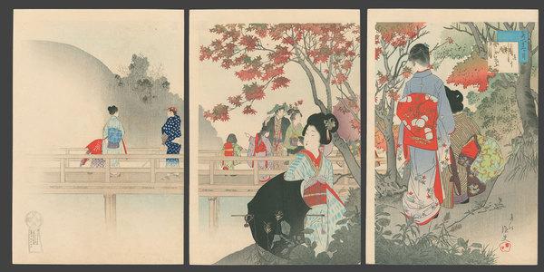 宮川春汀: October - Maple Viewing - The Art of Japan