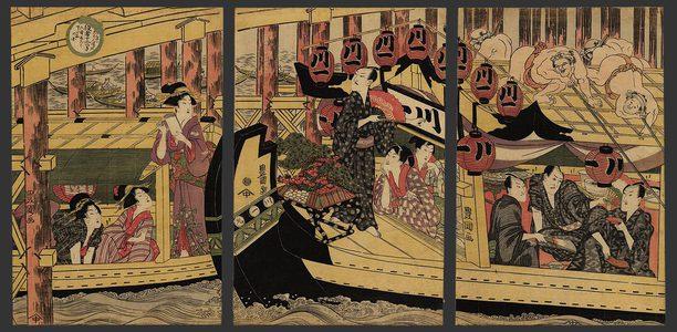 歌川豊国: 6th month - Boating at Ryogoku Bridge - The Art of Japan