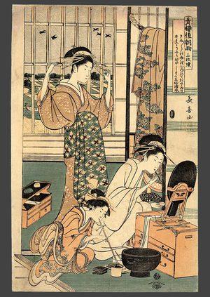 Eishosai Choki: Rain, the morning after in the pleasure quarter (Seiro kinoginu no ame) - The Art of Japan