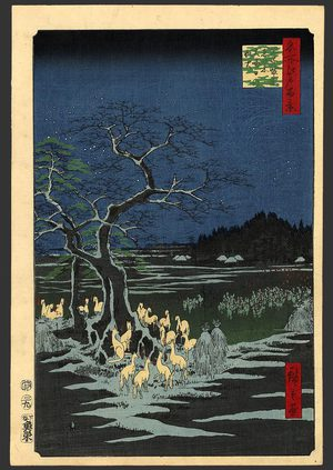 Utagawa Hiroshige: New Year's Eve Foxfires at the changing tree, Oji - The Art of Japan