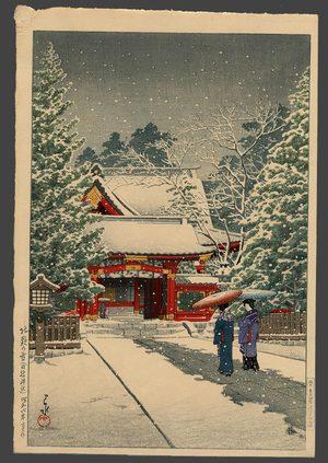 川瀬巴水: Snow at Hie Shrine (New Years Day) - The Art of Japan