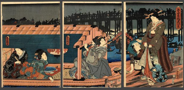 Utagawa Kunisada: Enjoying the evening cool at Azuma - The Art of Japan