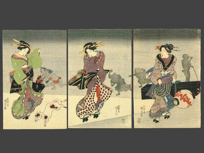 Utagawa Kunisada: Street Scene at Night in Edo - The Art of Japan