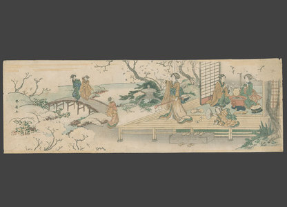 Shunsen: Geisha entertaining a client at a teahouse garden - The Art of Japan