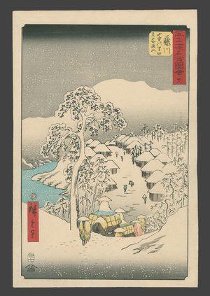 歌川広重: Fujikawa - Snow at yamanaka village near Fujikawa. - The Art of Japan