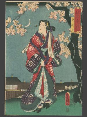 Utagawa Kunisada: Crescent Moon - Iwai Kumesaburo III as Osen - The Art of Japan